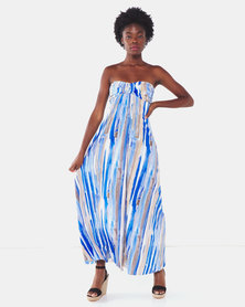 City Goddess London Bandeau Paint Print Maxi Dress Blue