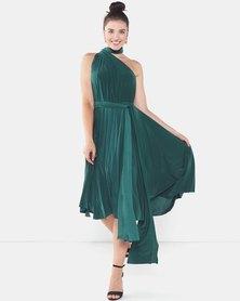 City Goddess London Multiway Open Back Midi Dress Green