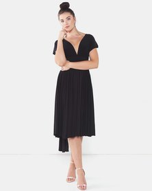 City Goddess London Multiway Open Back Midi Dress Black