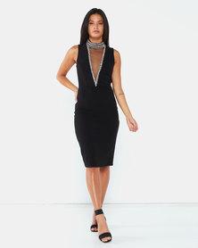 City Goddess London High Neck Cut Out Embellished Midi Dress Black
