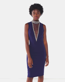 City Goddess London High Neck Cut Out Embellished Midi Dress Navy
