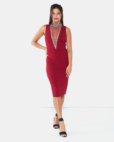 City Goddess London High Neck Cut Out Embellished Midi Dress Wine