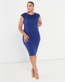 City Goddess London Pleated Neckline Cap Sleeve Midi Dress Royal Blue
