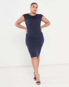 City Goddess London Pleated Neckline Cap Sleeve Midi Dress Navy