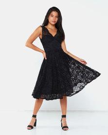 City Goddess London Open Back Lace Midi Dress Black