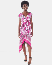 City Goddess London Printed Midi Summer Dress Pink