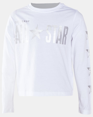 Converse Girls All Star Croppd Boxy LS Tee White