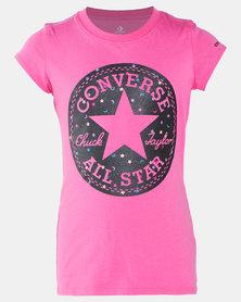 Converse Girls Chuck Patch Glitter Tee Pink
