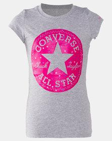 Converse Girls Chuck Patch Glitter Tee Grey