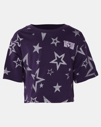 Converse Girls Glitter Star Aop Boxy Tee Purple