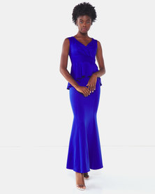 City Goddess London Off the Shoulder Maxi Dress with Peplum Detail Royal Blue