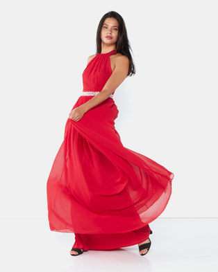 City Goddess London Halter Neck Chiffon Maxi Dress Red