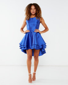City Goddess London Multilayered Sleeveless Skater Dress Royal Blue