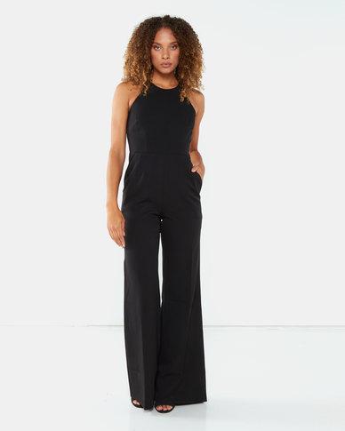 City Goddess London Halter Neck Jumpsuit Black