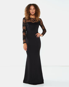 City Goddess London Long Sleeved Floral Embroidered Maxi Dress Black