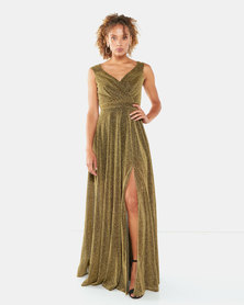 City Goddess London Cross Over Sleeveless Maxi Dress with Split Gold