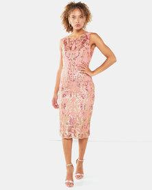 City Goddess London Scalloped Hem Sequin Embroidered Midi Dress Coral