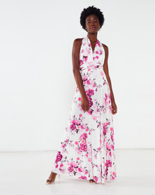 City Goddess London Floral Multi Way Maxi Dress White