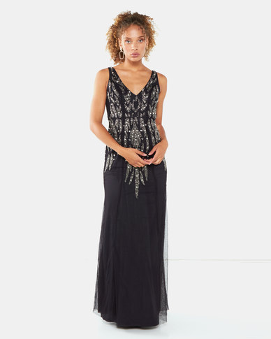 City Goddess London Embellished Open Back Maxi Dress Black Pearl