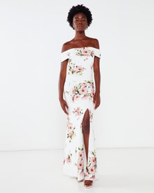City Goddess London Floral Off The Shoulder Maxi Dress with Split White