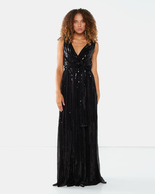 City Goddess London Sequined Chiffon Maxi Dress With Belt Black