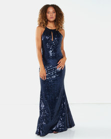 City Goddess London Halter Maxi Fishtail Sequin Dress Navy