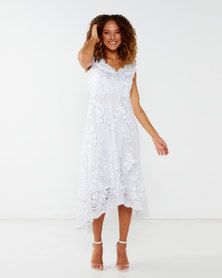 City Goddess London Embroidered Lace Midi Wedding Dress with Asymmetrical Hem White