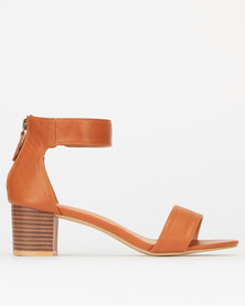 Utopia Ankle Bar Low Block Heels Tan