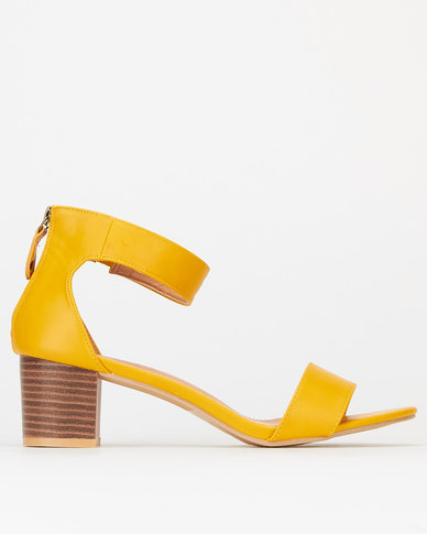 Utopia Ankle Bar Low Block Heels Mustard