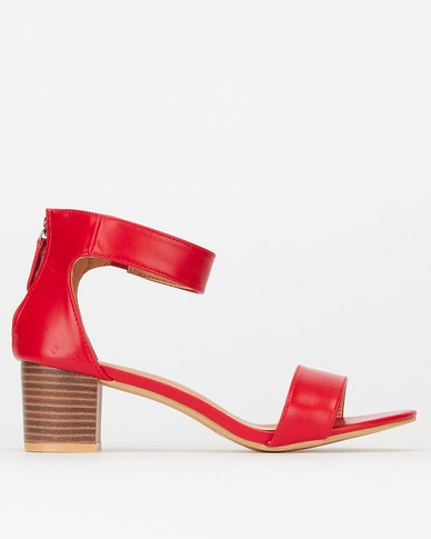 Utopia Ankle Bar Low Block Heels Red