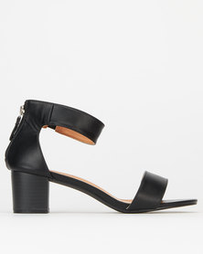 Utopia Ankle Bar Low Block Heels Black