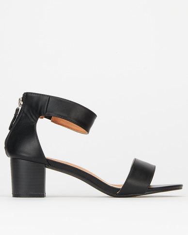 Utopia Ankle Bar Low Block Heels Black