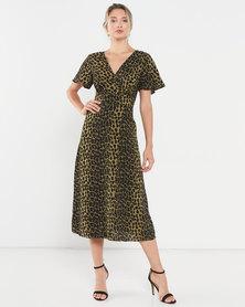 AX Paris Leopard Print Wrap Midi Dress Khaki