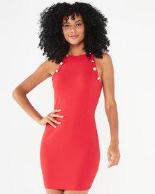 AX Paris Button Front High Neck Dress Red