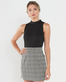 AX Paris 2 in 1 High Neck Dress With Check Detailing Black