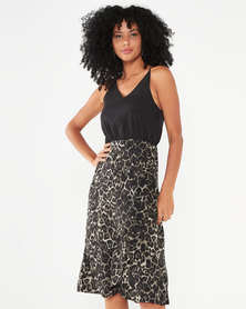 AX Paris 2 In 1 Animal Print Frill Hem Dress Black And Khaki