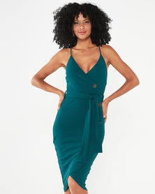 AX Paris Button Front Detail Dress Forest Green