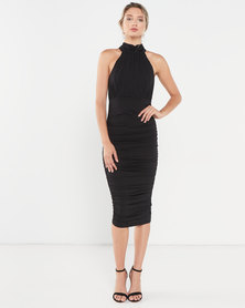 AX Paris High Neck Ruched Dress Black