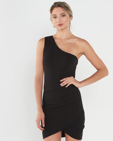 AX Paris One Shoulder Mini Dress With Ruched Detail Black