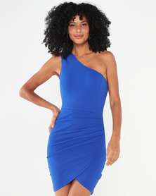 AX Paris One Shoulder Mini Dress With Ruched Detail Blue