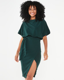 AX Paris Tie Waist Midi Dress Green