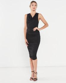 AX Paris Cowl Neck Ruched Side Dress Black