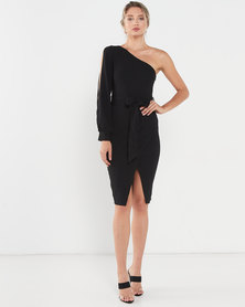 AX Paris Split Sleeve One Shoulder Dress Black