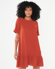 AX Paris Frill Hem Shift Dress Rust