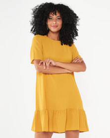 AX Paris Frill Hem Shift Dress Mustard