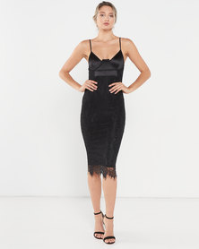 AX Paris Lace Bodycon Midi Dress Black