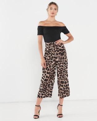 AX Paris 2 in 1 Leopard Print Jumpsuit Black