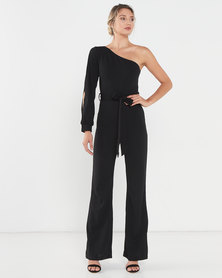 AX Paris One Shoulder Split Sleeve Jumpsuit Black