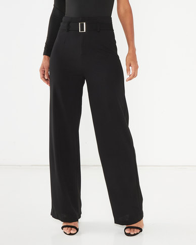 AX Paris High Waist Wide Leg Trousers Black