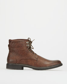 Gino Paoli Denim Rugged Boots Dark Brown